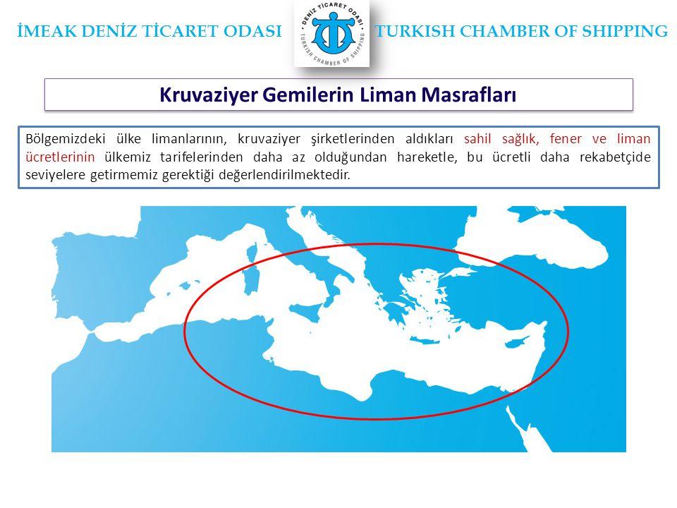 Öneri ve Görüşlerimiz İMEAK DENİZ TİCARET ODASI TURKISH CHAMBER OF SHIPPING • TCDD İzmir Limanının modernizasyonu kapsamında yeni parmak iskelelerin eklenmesi ve yolcu salonun yenilenmesi, • İstanbul ile birlikte ülkemizin en önemli 3 kruvaziyer limanı arasında olan Kuşadası ve İzmir Limanlarının Barselona, Venedik, Napoli ve Pire gibi Home Port (ilk kalkış ve son varış limanı) olabilecek nitelikleri kazanması için özel sektör ve ilgili kamu kurumları ile koordinasyon/işbirliği çalışmalarına hız verilmesi, • Kruvaziyer turizminin önemli bir kısmında merkez olarak kabul edilen kente uçakla gidilip, gemiyle tatile devam edilmesidir.