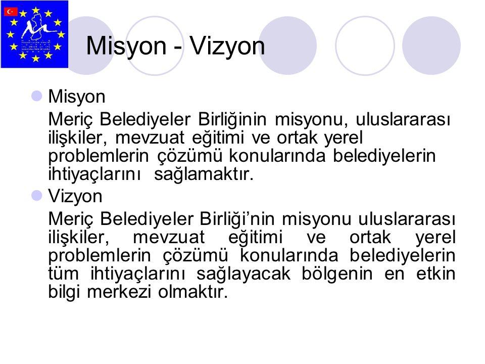 Misyon - Vizyon  Misyon Meriç Belediyeler Birliğinin misyonu, uluslararası ilişkiler, mevzuat eğitimi ve ortak yerel problemlerin çözümü konularında