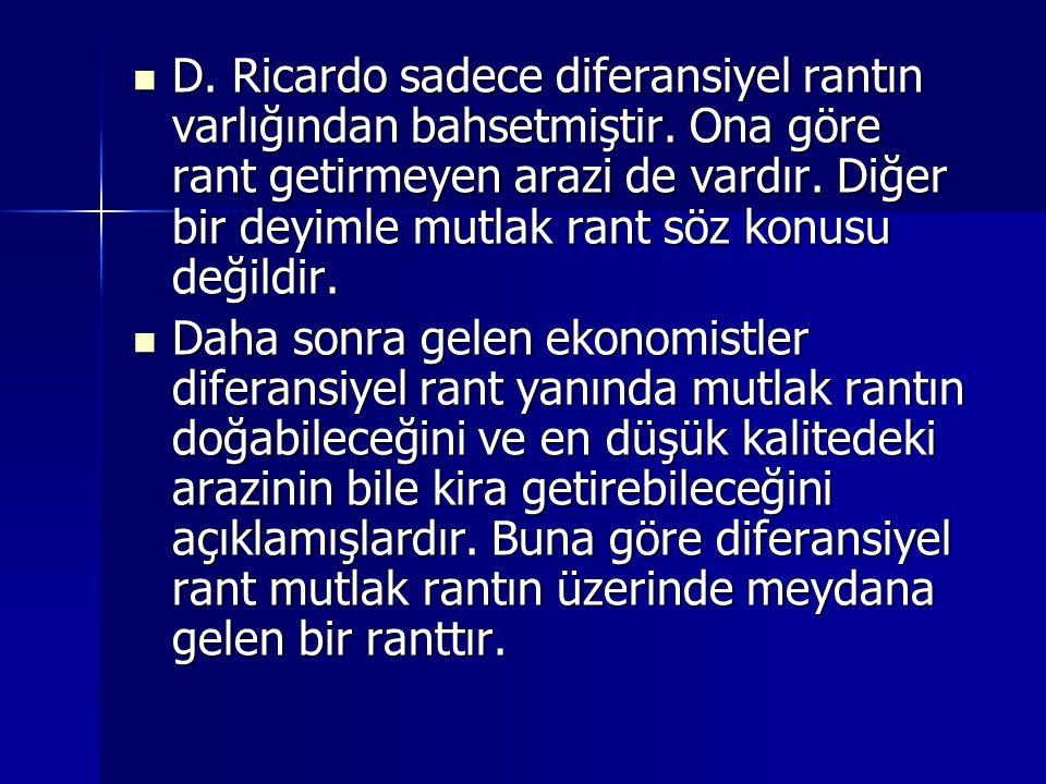  D.Ricardo sadece diferansiyel rantın varlığından bahsetmiştir.