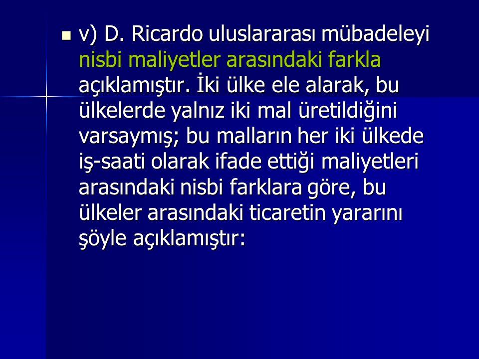 v) D.Ricardo uluslararası mübadeleyi nisbi maliyetler arasındaki farkla açıklamıştır.