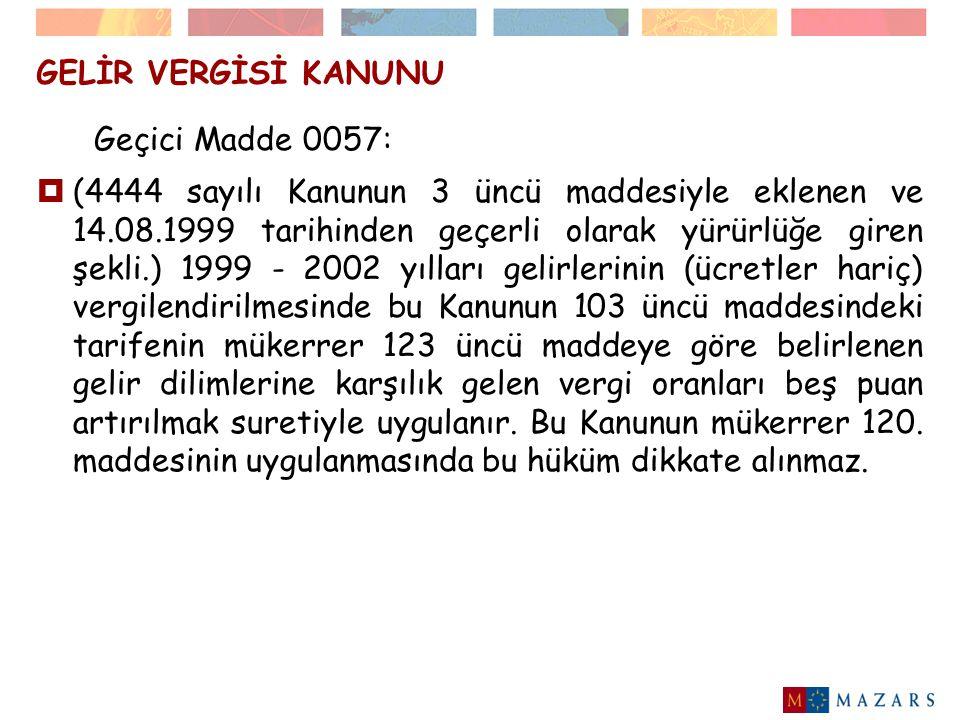 GELİR VERGİSİ KANUNU  24/4/2004 tarihli Resmi Gazete'de yayınlanan 4842 sayılı Kanunun 13.