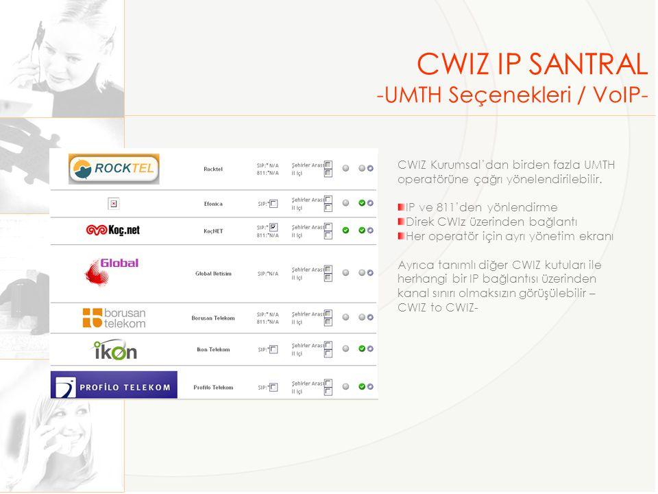 CWIZ IP SANTRAL -Raporlama- CWIZ'e gelen ve giden tüm çağrılar raporlanmaktadır Liste ve grafik raporları Dahili kullanıcı bazına inen detay Özet yön, GSM operatörü raproları En sık aranan il ve ülke özet raporu Kategori raporları Sayı, süre ve ücret raporları