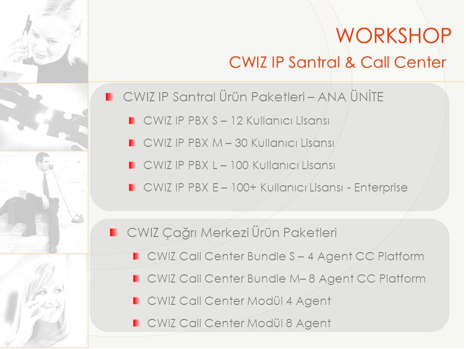 Dış Hat Bağlantıları PSTN --- 4 ve 8 Port FxO Analog GW ISDN PRI --- 1,2,4 ve 8 kanal PRI Kartlar IP (UMTH)--- SIP ve 811 WORKSHOP CWIZ IP Santral & Call Center Dahili Aboneler IP Telefon--- CWIZ, TTec, ST2030, Linksys Analog Telefon --- 8 ve 24 Port FxS Analaog GW Softphone--- Free veya Lisasnlı Uygulamalar