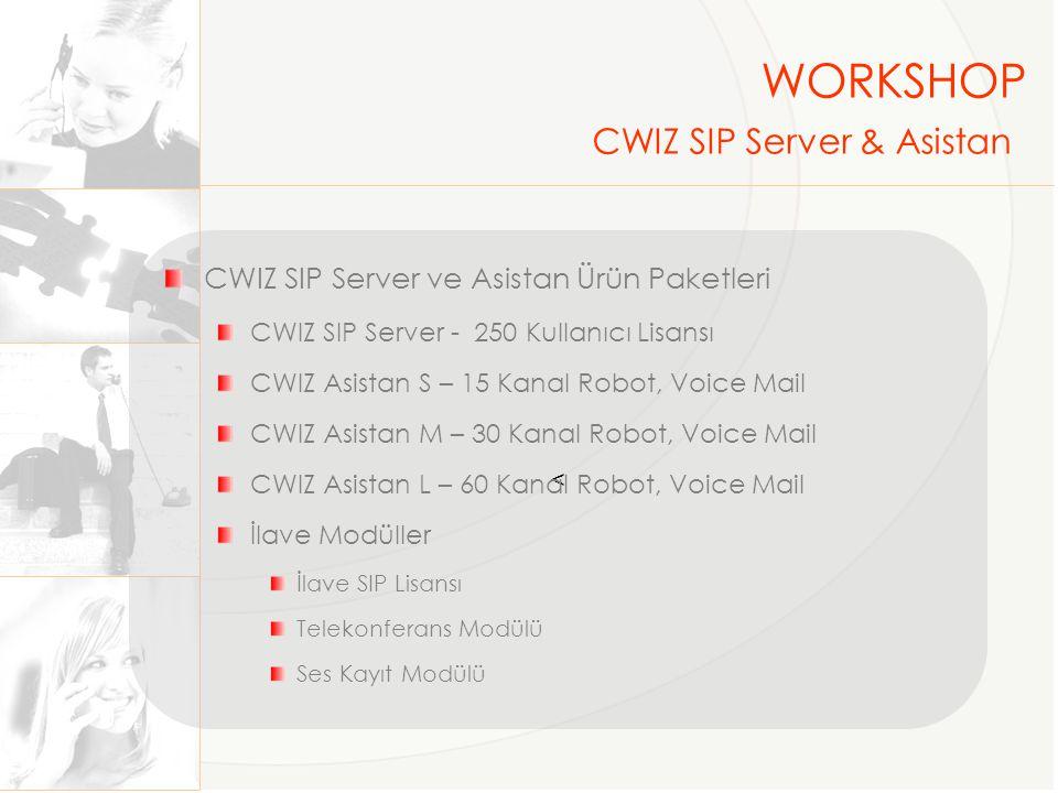 Arabağlantılar (Santral ve CWIZ) Analog --- Analog Mediagatewayler ISDN PRI --- 1,2,4 ve 8 kanal PRI Kartlar IP--- SIP Uç Noktalar IP Telefon--- CWIZ, TTec, ST2030, Linksys IAD --- Drytek, Speed Touch Gateway ve TA--- Audiocodes, Xspeech, Linksys Softphone--- Free veya Lisasnlı Uygulamalar WORKSHOP CWIZ SIP Server & Asistan
