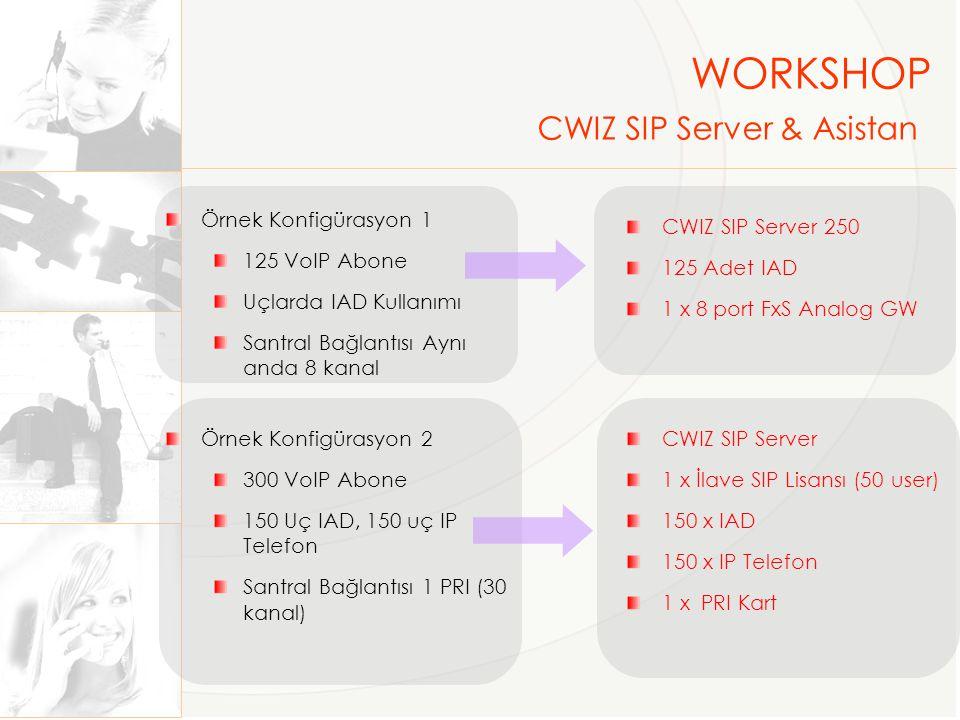 Örnek Konfigürasyon 3 30 Kanal Robot Operatör 50 VoIP Abone Uçlarda IAD Kullanımı CWIZ Asistan M 1 x İlave SIP Lisansı (50 user) 50 Adet IAD Örnek Konfigürasyon 4 30 Kanal Robot Operatör 150 VoIP Abone Telekonferans (10 Kullanıcı) Ses Kayıt (1-100 Kullanıcı) Uçlarda IAD Kullanımı CWIZ Asistam M 3 x İlave SIP Lisansı (50 user) 10 Kullanıcı Telekonferans Modülü 1-100 Kullanıcı Ses Kayıt Modülü 150 Adet IAD WORKSHOP CWIZ IP Santral & Call Center