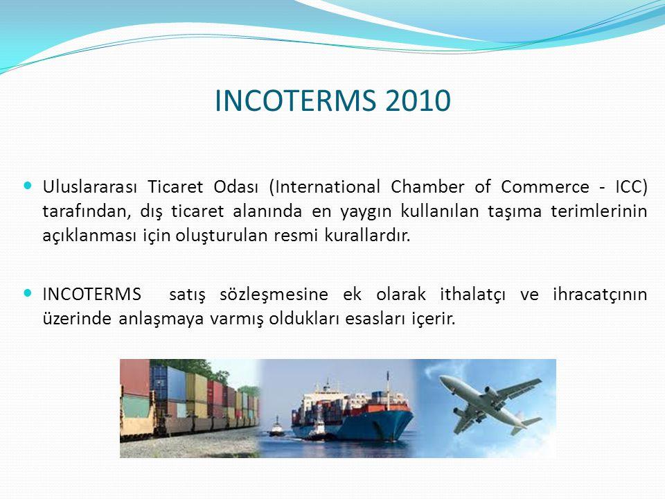 INCOTERMS 2010  Uluslararası Ticaret Odası (International Chamber of Commerce - ICC) tarafından, dış ticaret alanında en yaygın kullanılan taşıma ter