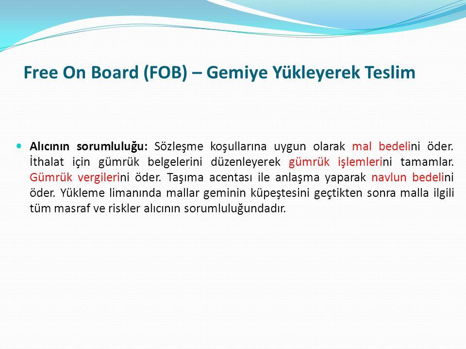 Free On Board (FOB) – Gemiye Yükleyerek Teslim  Alıcının sorumluluğu: Sözleşme koşullarına uygun olarak mal bedelini öder. İthalat için gümrük belgel