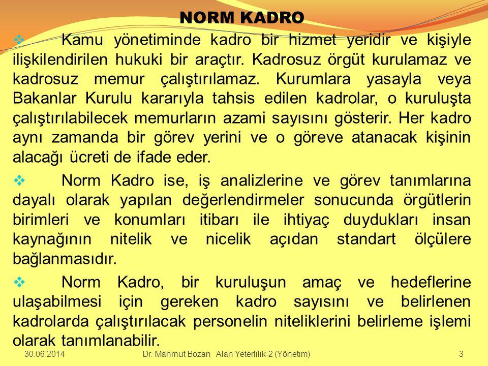 NORM KADRO  Kamu yönetiminde kadro bir hizmet yeridir ve kişiyle ilişkilendirilen hukuki bir araçtır. Kadrosuz örgüt kurulamaz ve kadrosuz memur çalı