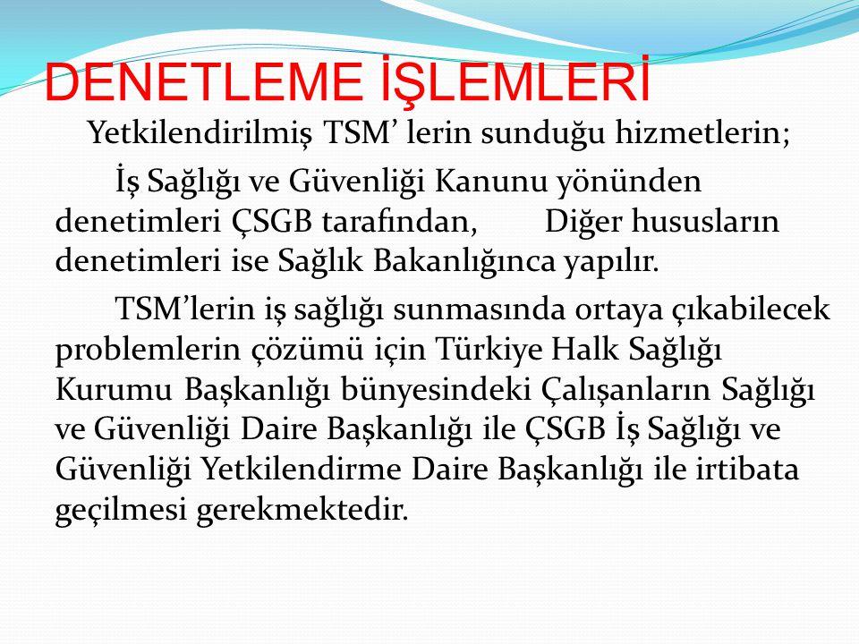 DENETLEME İŞLEMLERİ Yetkilendirilmiş TSM' lerin sunduğu hizmetlerin; İş Sağlığı ve Güvenliği Kanunu yönünden denetimleri ÇSGB tarafından,Diğer hususla