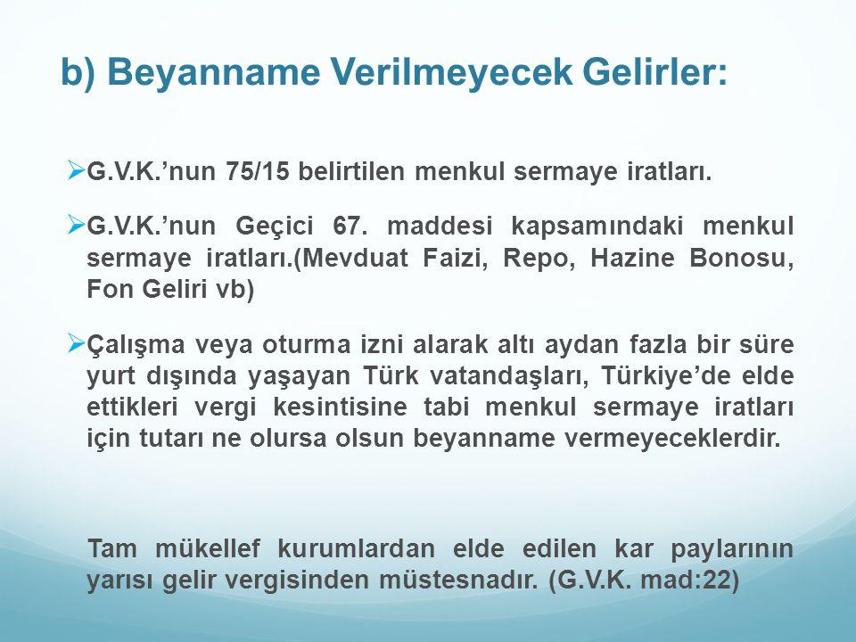 b) Beyanname Verilmeyecek Gelirler:  G.V.K.'nun 75/15 belirtilen menkul sermaye iratları.  G.V.K.'nun Geçici 67. maddesi kapsamındaki menkul sermaye