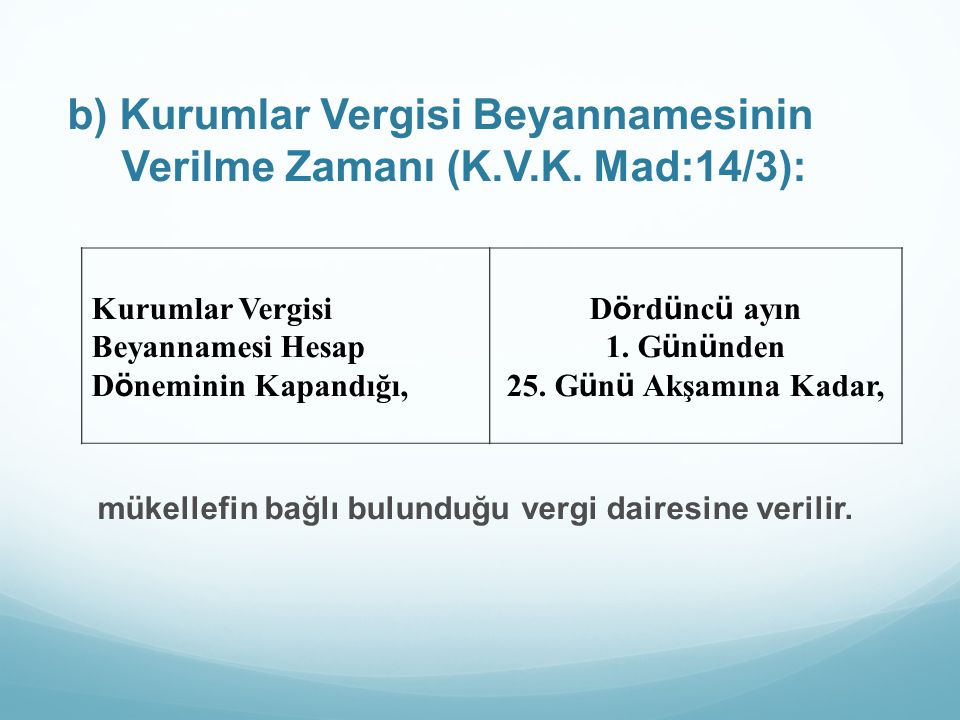 b) Kurumlar Vergisi Beyannamesinin Verilme Zamanı (K.V.K. Mad:14/3): mükellefin bağlı bulunduğu vergi dairesine verilir. Kurumlar Vergisi Beyannamesi