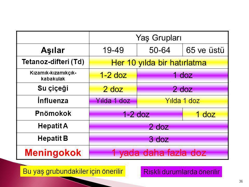36 Yaş Grupları Aşılar19-4950-6465 ve üstü Tetanoz-difteri (Td) Her 10 yılda bir hatırlatma Kızamık-kızamıkçık- kabakulak 1-2 doz1 doz Su çiçeği 2 doz