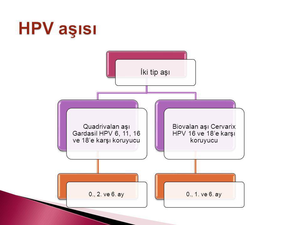 İki tip aşı Quadrivalan aşı Gardasil HPV 6, 11, 16 ve 18'e karşı koruyucu 0., 2. ve 6. ay Biovalan aşı Cervarix HPV 16 ve 18'e karşı koruyucu 0., 1. v