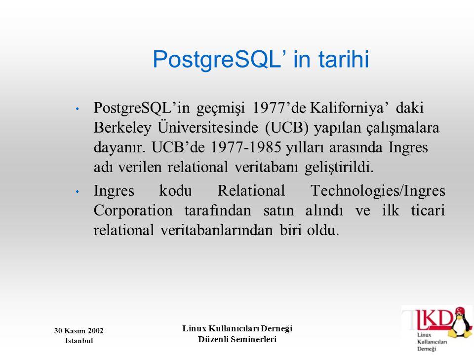 30 Kasım 2002 Istanbul Linux Kullanıcıları Derneği Düzenli Seminerleri PostgreSQL' in tarihi • PostgreSQL'in geçmişi 1977'de Kaliforniya' daki Berkele