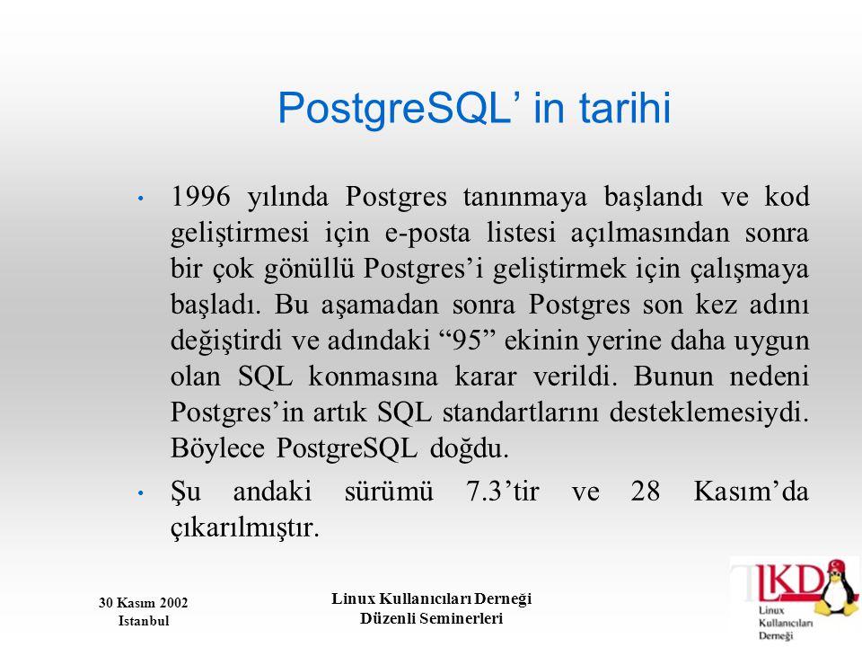 30 Kasım 2002 Istanbul Linux Kullanıcıları Derneği Düzenli Seminerleri PostgreSQL' in tarihi • 1996 yılında Postgres tanınmaya başlandı ve kod gelişti