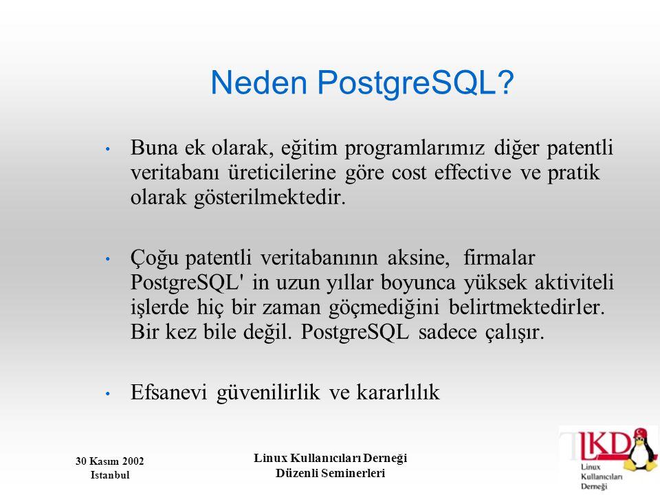 30 Kasım 2002 Istanbul Linux Kullanıcıları Derneği Düzenli Seminerleri Neden PostgreSQL? • Buna ek olarak, eğitim programlarımız diğer patentli verita