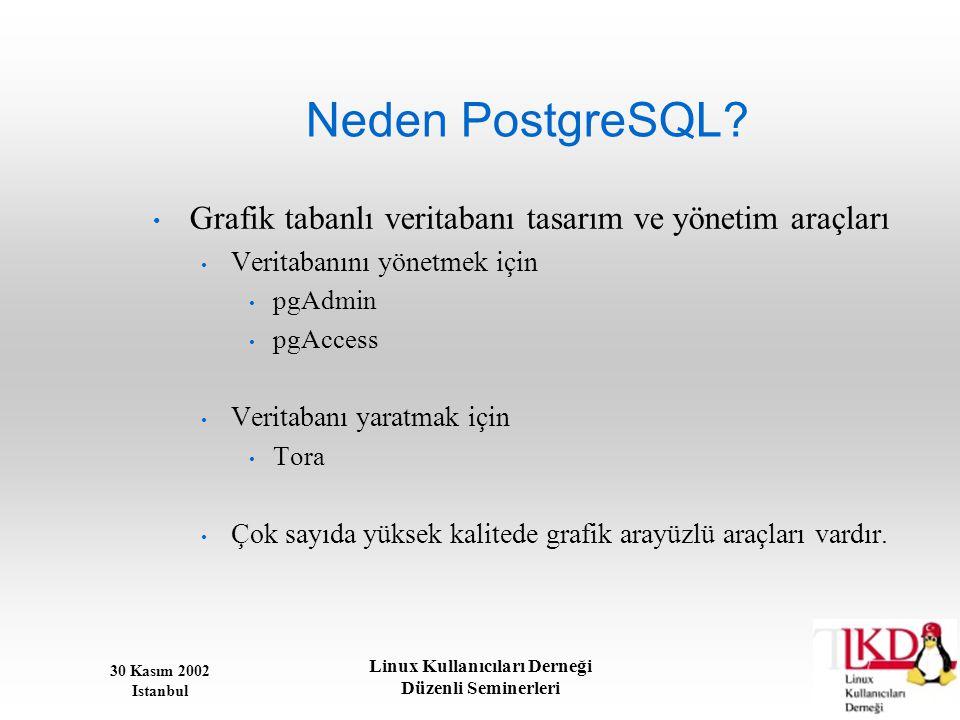 30 Kasım 2002 Istanbul Linux Kullanıcıları Derneği Düzenli Seminerleri Neden PostgreSQL? • Grafik tabanlı veritabanı tasarım ve yönetim araçları • Ver
