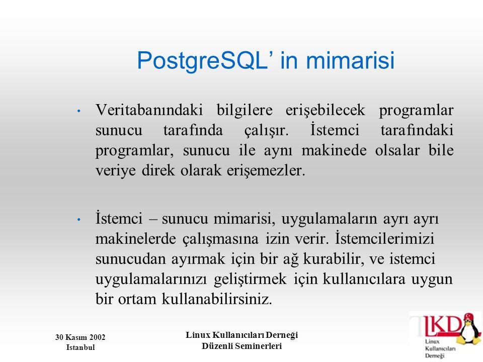 30 Kasım 2002 Istanbul Linux Kullanıcıları Derneği Düzenli Seminerleri PostgreSQL' in mimarisi • Veritabanındaki bilgilere erişebilecek programlar sun