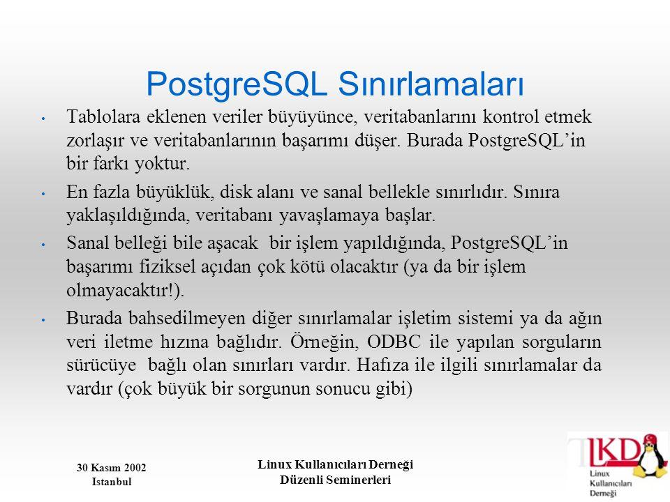 30 Kasım 2002 Istanbul Linux Kullanıcıları Derneği Düzenli Seminerleri PostgreSQL Sınırlamaları • Tablolara eklenen veriler büyüyünce, veritabanlarını