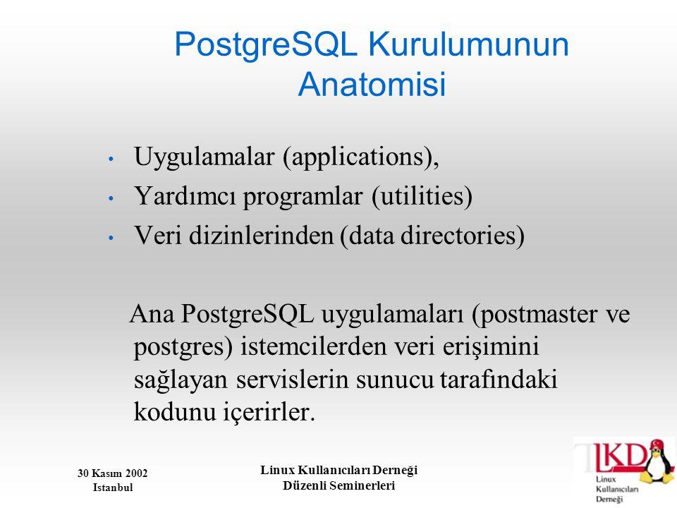 30 Kasım 2002 Istanbul Linux Kullanıcıları Derneği Düzenli Seminerleri PostgreSQL Kurulumunun Anatomisi • Uygulamalar (applications), • Yardımcı progr