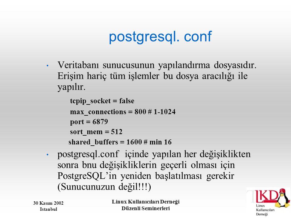 30 Kasım 2002 Istanbul Linux Kullanıcıları Derneği Düzenli Seminerleri postgresql. conf • Veritabanı sunucusunun yapılandırma dosyasıdır. Erişim hariç