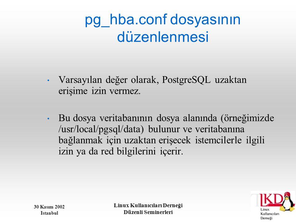 30 Kasım 2002 Istanbul Linux Kullanıcıları Derneği Düzenli Seminerleri pg_hba.conf dosyasının düzenlenmesi • Varsayılan değer olarak, PostgreSQL uzakt