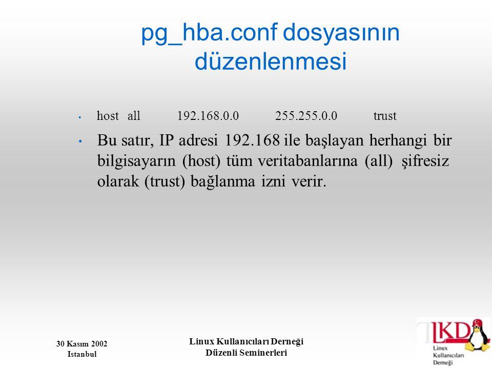 30 Kasım 2002 Istanbul Linux Kullanıcıları Derneği Düzenli Seminerleri pg_hba.conf dosyasının düzenlenmesi • hostall192.168.0.0255.255.0.0trust • Bu s
