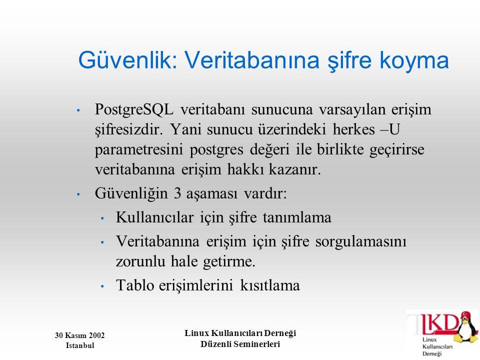 30 Kasım 2002 Istanbul Linux Kullanıcıları Derneği Düzenli Seminerleri Güvenlik: Veritabanına şifre koyma • PostgreSQL veritabanı sunucuna varsayılan
