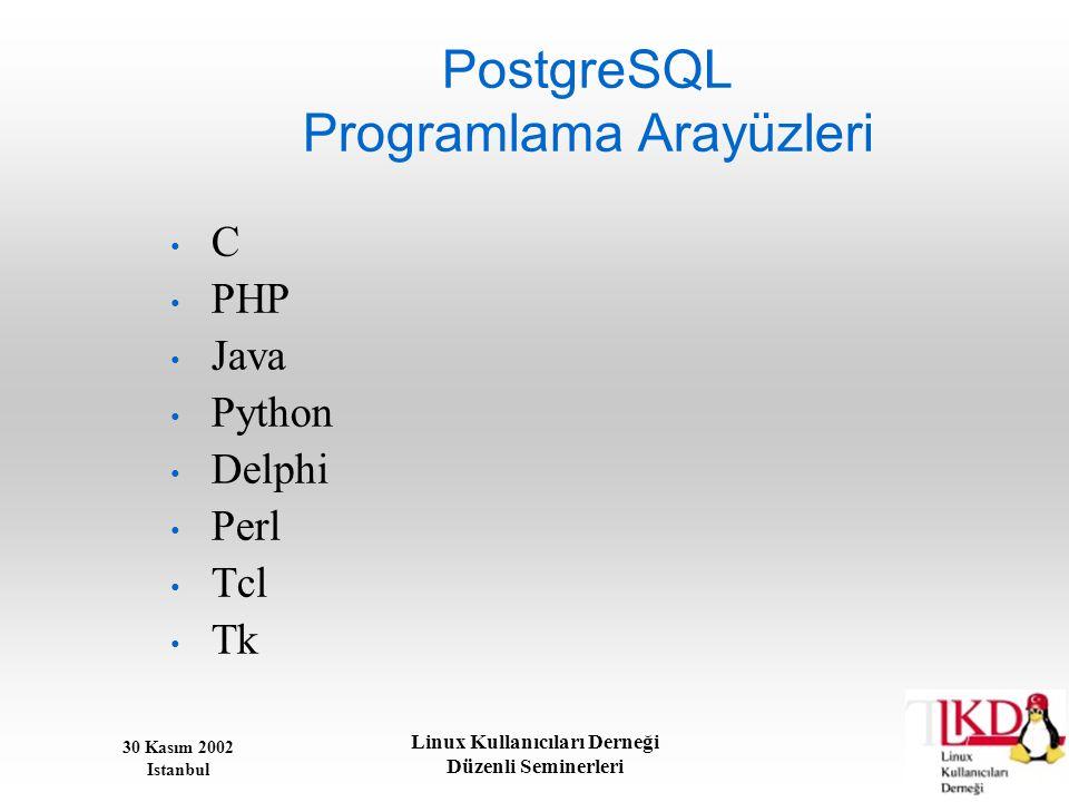 30 Kasım 2002 Istanbul Linux Kullanıcıları Derneği Düzenli Seminerleri PostgreSQL Programlama Arayüzleri • C • PHP • Java • Python • Delphi • Perl • T