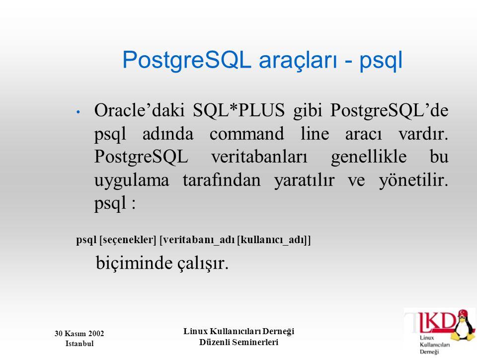 30 Kasım 2002 Istanbul Linux Kullanıcıları Derneği Düzenli Seminerleri PostgreSQL araçları - psql • Oracle'daki SQL*PLUS gibi PostgreSQL'de psql adınd