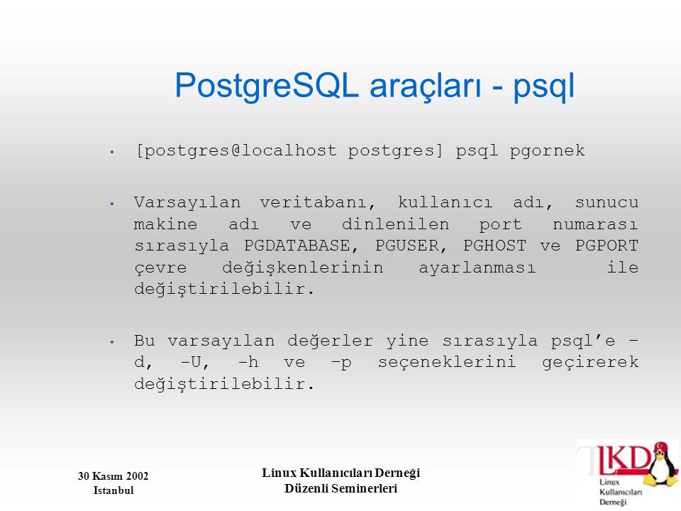 30 Kasım 2002 Istanbul Linux Kullanıcıları Derneği Düzenli Seminerleri PostgreSQL araçları - psql • [postgres@localhost postgres] psql pgornek • Varsa