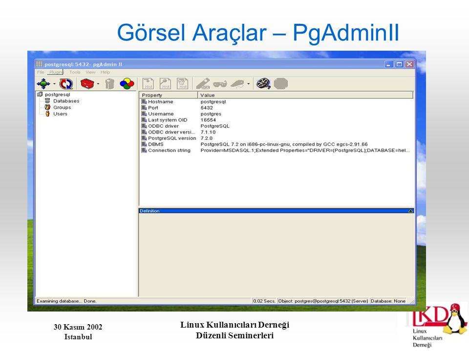 30 Kasım 2002 Istanbul Linux Kullanıcıları Derneği Düzenli Seminerleri Görsel Araçlar – PgAdminII
