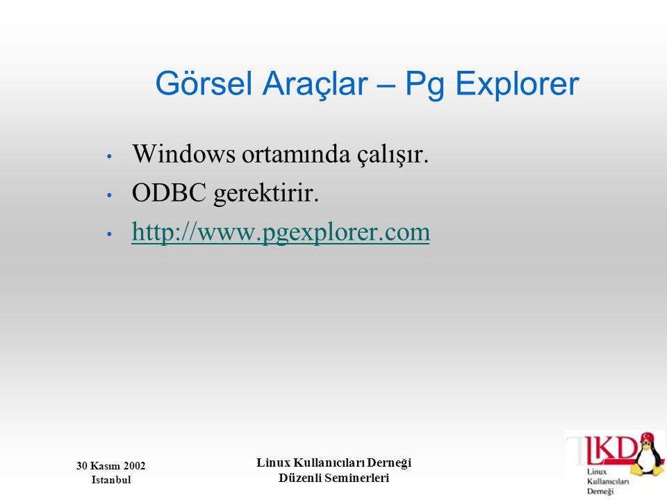 30 Kasım 2002 Istanbul Linux Kullanıcıları Derneği Düzenli Seminerleri Görsel Araçlar – Pg Explorer • Windows ortamında çalışır. • ODBC gerektirir. •
