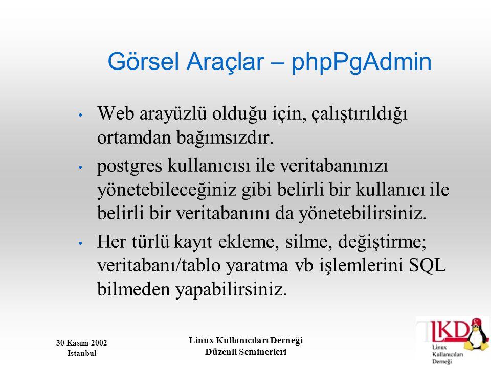 30 Kasım 2002 Istanbul Linux Kullanıcıları Derneği Düzenli Seminerleri Görsel Araçlar – phpPgAdmin • Web arayüzlü olduğu için, çalıştırıldığı ortamdan