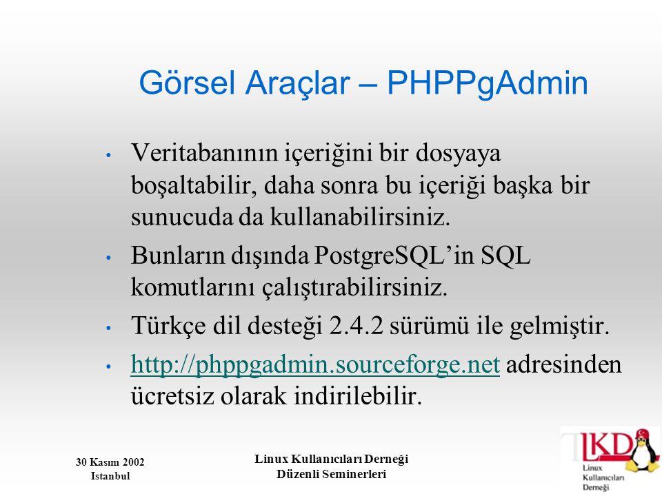 30 Kasım 2002 Istanbul Linux Kullanıcıları Derneği Düzenli Seminerleri Görsel Araçlar – PHPPgAdmin • Veritabanının içeriğini bir dosyaya boşaltabilir,