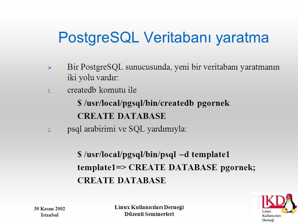 30 Kasım 2002 Istanbul Linux Kullanıcıları Derneği Düzenli Seminerleri PostgreSQL Veritabanı yaratma  Bir PostgreSQL sunucusunda, yeni bir veritabanı