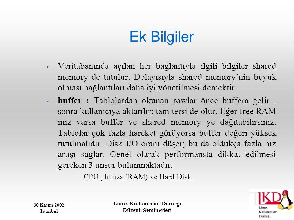30 Kasım 2002 Istanbul Linux Kullanıcıları Derneği Düzenli Seminerleri Ek Bilgiler • Veritabanında açılan her bağlantıyla ilgili bilgiler shared memor