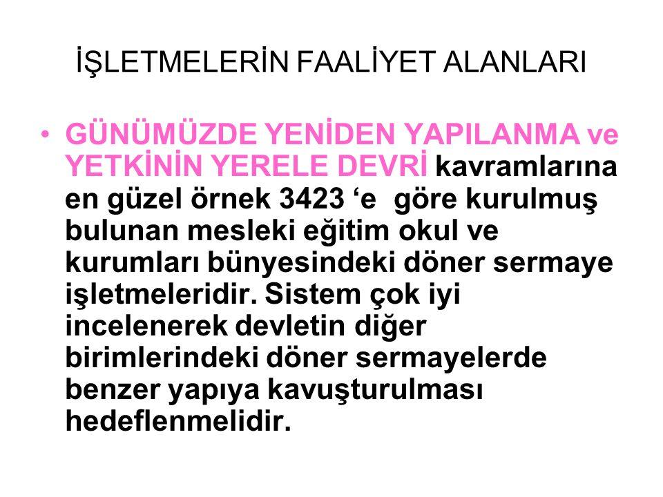 FİNANSMAN KAYNAKLARI •3423 sayılı Kanuna göre kurulan döner sermaye işletmelerinin finansman kaynağı sadece bilanço kârının 1/3 'ü dür.