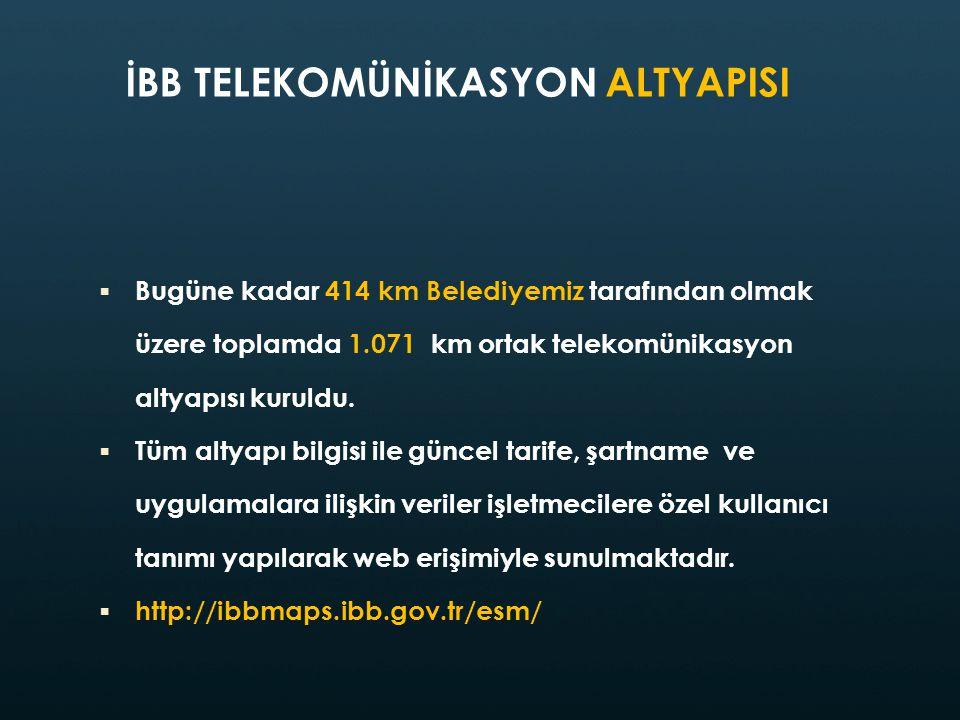 İBB TELEKOMÜNİKASYON ALTYAPISI  Bugüne kadar 414 km Belediyemiz tarafından olmak üzere toplamda 1.071 km ortak telekomünikasyon altyapısı kuruldu. 