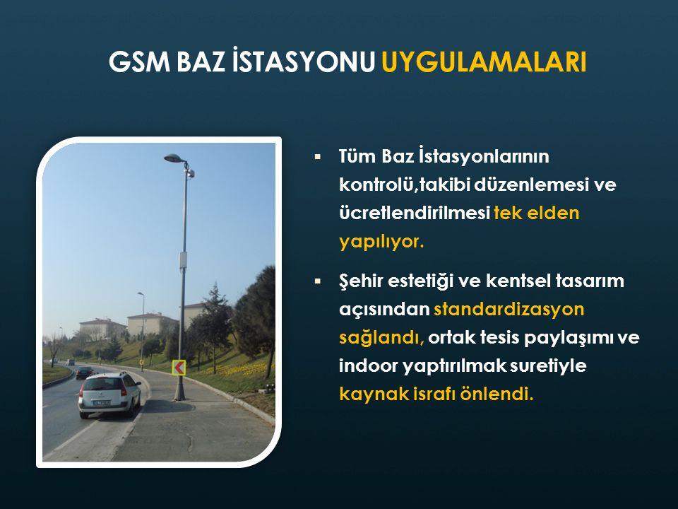 GSM BAZ İSTASYONU UYGULAMALARI  Tüm Baz İstasyonlarının kontrolü,takibi düzenlemesi ve ücretlendirilmesi tek elden yapılıyor.  Şehir estetiği ve ken