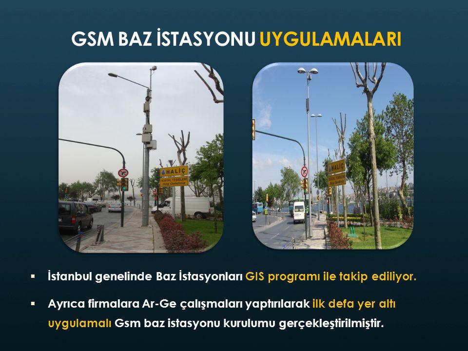 GSM BAZ İSTASYONU UYGULAMALARI  İstanbul genelinde Baz İstasyonları GIS programı ile takip ediliyor.  Ayrıca firmalara Ar-Ge çalışmaları yaptırılara