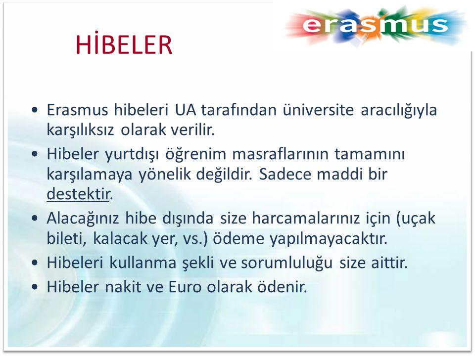 HİBELER •Erasmus hibeleri UA tarafından üniversite aracılığıyla karşılıksız olarak verilir. •Hibeler yurtdışı öğrenim masraflarının tamamını karşılama