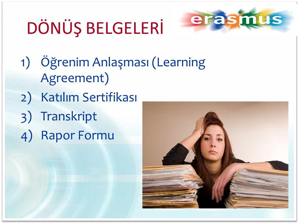 1)Öğrenim Anlaşması (Learning Agreement) 2)Katılım Sertifikası 3)Transkript 4)Rapor Formu DÖNÜŞ BELGELERİ