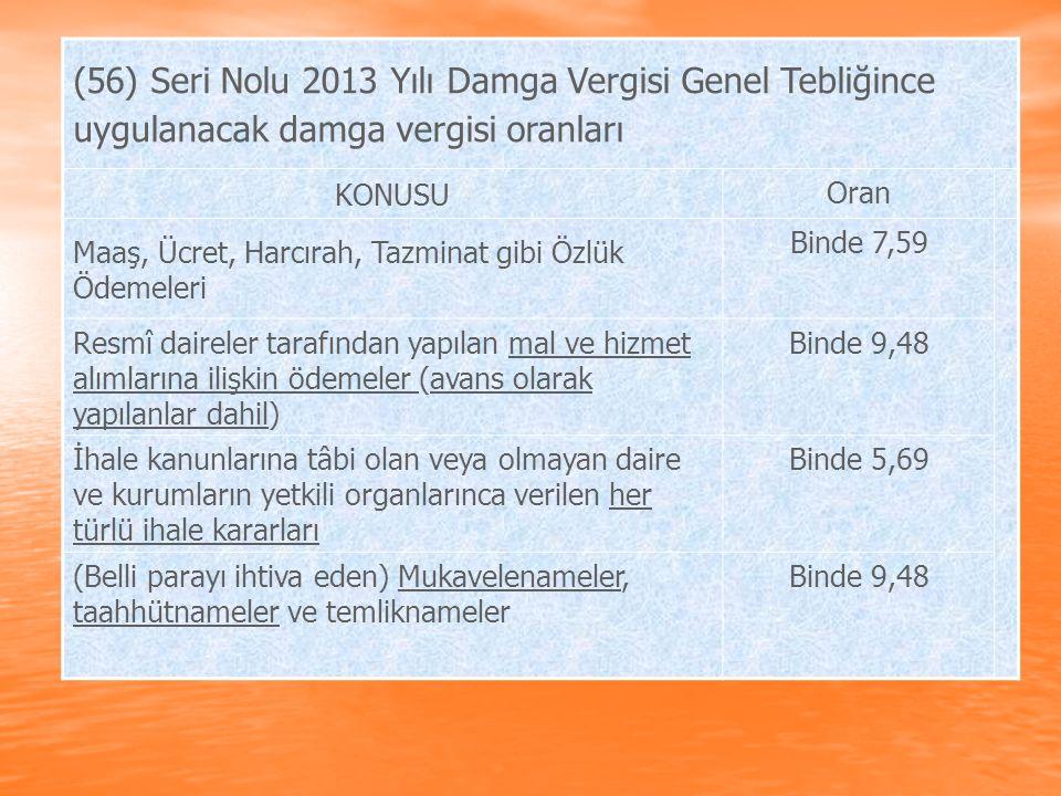 (56) Seri Nolu 2013 Yılı Damga Vergisi Genel Tebliğince uygulanacak damga vergisi oranları KONUSU Oran Maaş, Ücret, Harcırah, Tazminat gibi Özlük Ödem