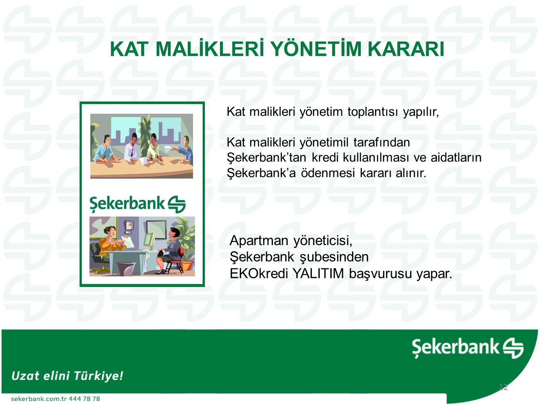 KAT MALİKLERİ YÖNETİM KARARI Kat malikleri yönetim toplantısı yapılır, Kat malikleri yönetimil tarafından Şekerbank'tan kredi kullanılması ve aidatların Şekerbank'a ödenmesi kararı alınır.