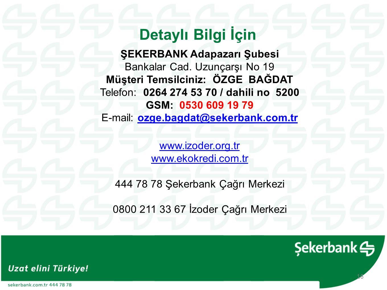 Detaylı Bilgi İçin www.izoder.org.tr www.ekokredi.com.tr 444 78 78 Şekerbank Çağrı Merkezi 0800 211 33 67 İzoder Çağrı Merkezi 16 ŞEKERBANK Adapazarı