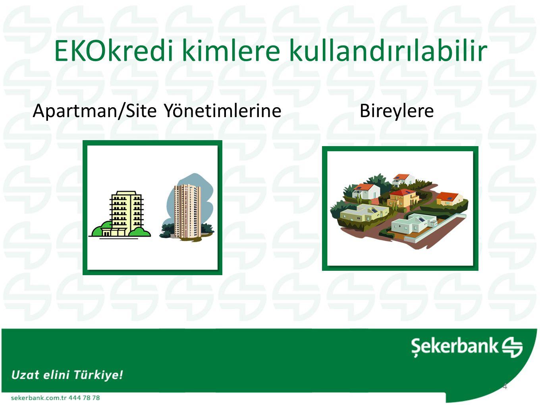 EKOkredi kimlere kullandırılabilir Apartman/Site Yönetimlerine Bireylere 4