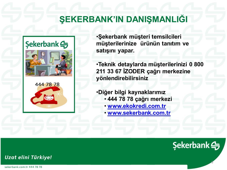 ŞEKERBANK'IN DANIŞMANLIĞI •Şekerbank müşteri temsilcileri müşterilerinize ürünün tanıtım ve satışını yapar. •Teknik detaylarda müşterilerinizi 0 800 2