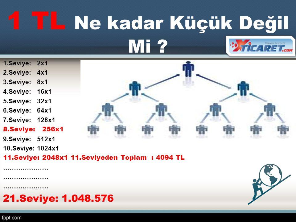 1 TL Ne kadar Küçük Değil Mi ? 1.Seviye: 2x1 2.Seviye: 4x1 3.Seviye: 8x1 4.Seviye: 16x1 5.Seviye: 32x1 6.Seviye: 64x1 7.Seviye: 128x1 8.Seviye: 256x1