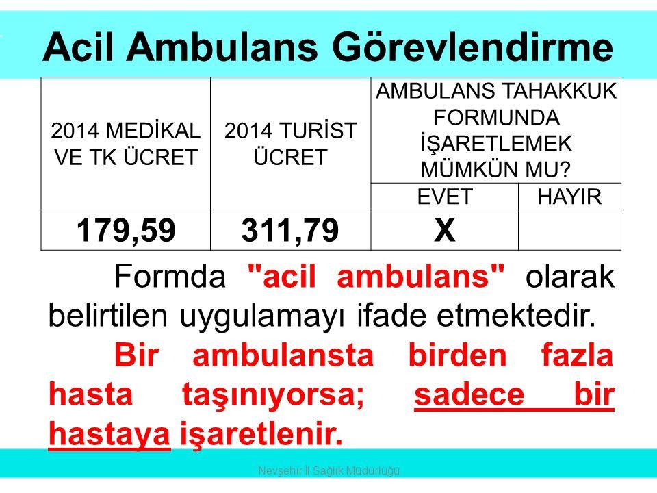 •Acil ambulans •Muayene •Kan şekeri ölçümü X 3 •Saturasyon •Damar yolu •Serum => İLAÇLI MÜDAHALE •Ekg monitorizasyon Nevşehir İl Sağlık Müdürlüğü
